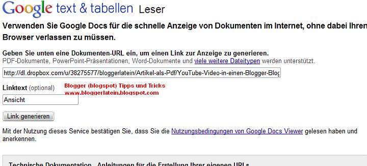 PDF in in Post bzw. Seite bei Blogger Blogspot anzeigen