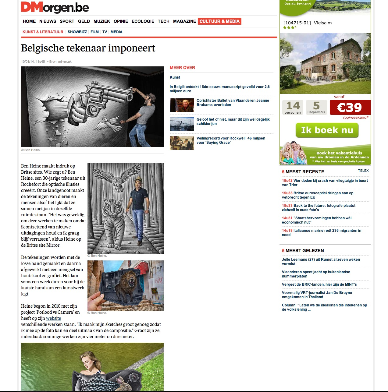 Ben Heine Art - News Article in De Morgen - Belgium (January 2014)