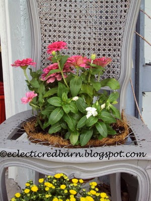 Eclectic Red Barn: Upcycled chair to planter