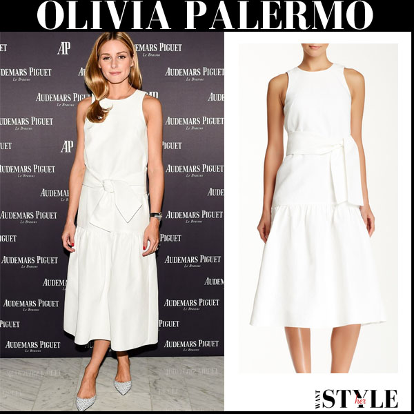 Olivia Palermo in white bow midi Tibi dress and embellished Jimmy Choo flats party cocktail outfit 2015