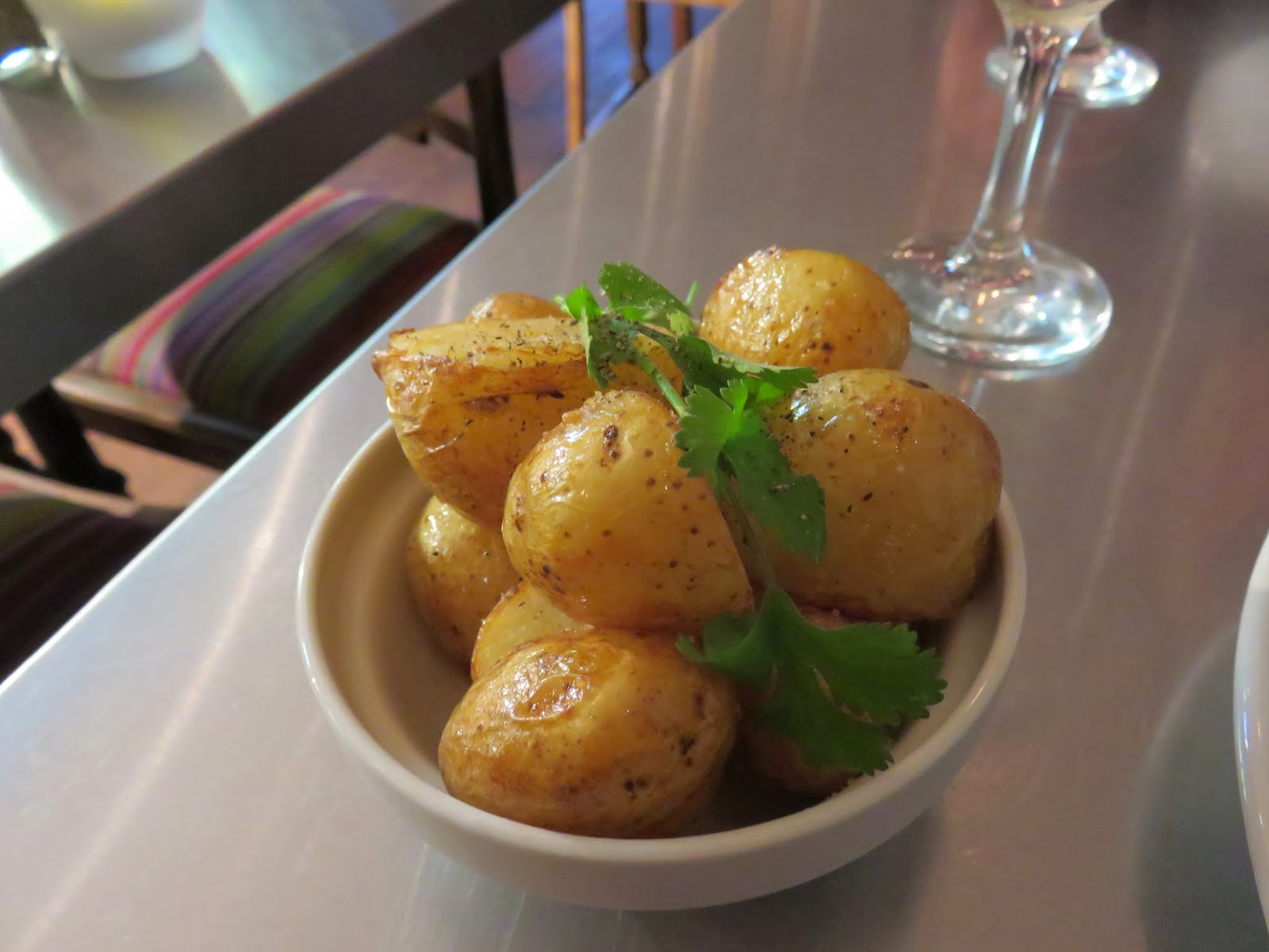 Roasted potatoes at Peperina Garden Bistro in Dublin