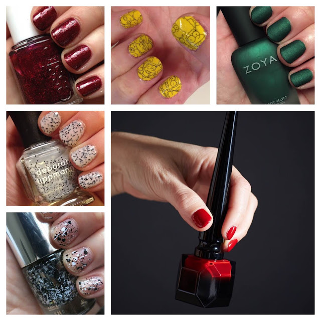 My 2014 in nails, #ManiMonday, Mani Monday, manicure, nails, nail polish, nail lacquer, nail varnish, Essie Toggle To The Top, M.A.C Cosmetics The Simpsons Nail Stickers, Zoya Matte Velvet Veruschka, Christian Louboutin Rouge Louboutin, Deborah Lippmann Polka Dots And Moonbeams, American Eagle Outfitters Black Diamond