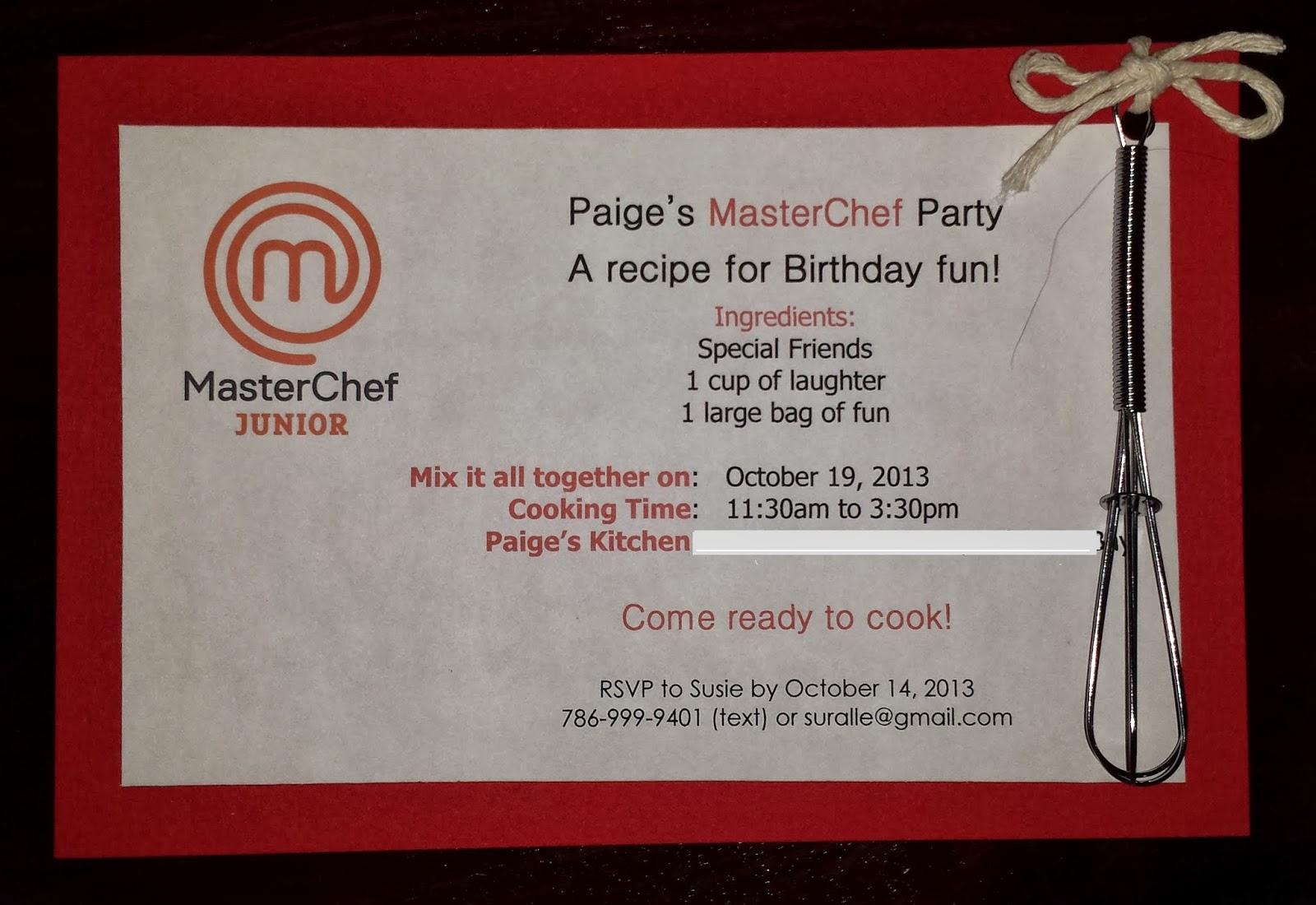 The Artisan Chef Masterchef Birthday Party