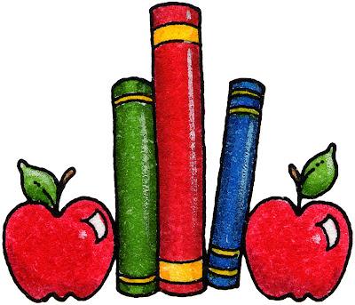 Desenho de livros e maças colorido