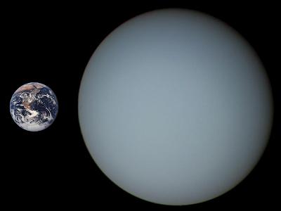 Comparación entre los tamaños de Urano y la Tierra
