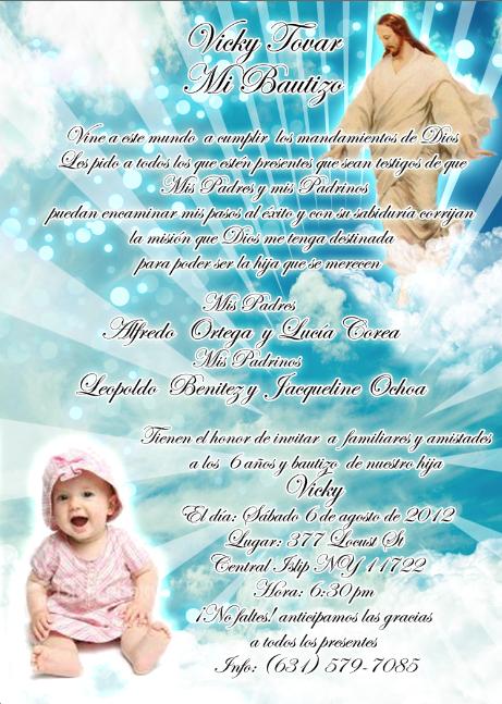 Formatos para invitaciónes de bautizo niña - Imagui