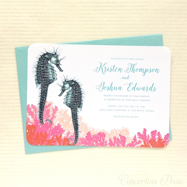 See the story behind these seahorse wedding invitations and the scientific illustrations they were made from