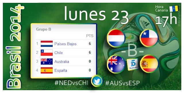Holanda - Chile (17.00h) Australia - España (17.00h) #Mundial2014 Hora Canaria