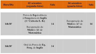 Calendário - provas da época de setembro