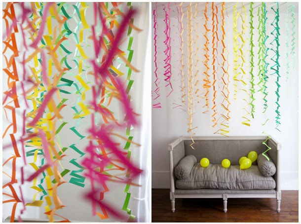 Ma Bicyclette: Home Interiors | How To Bring Summer Indoors - Rainbow Paper Streamers