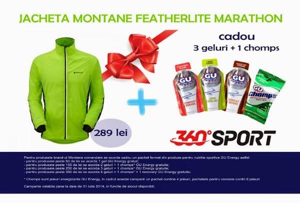 Câteva promoţii cu reduceri de la 360SPORT la brand-urile Montane şi GU Energy. Jachetă Montane Featherlite Marathon