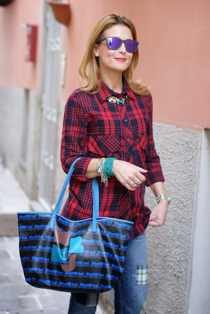 Camicia scozzese Zara, Cesare Paciotti ankle boots, Marc by Marc Jacobs tote, Fashion and Cookies, fashion blogger