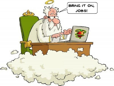 A cartoon of God on a cloud using a laptop