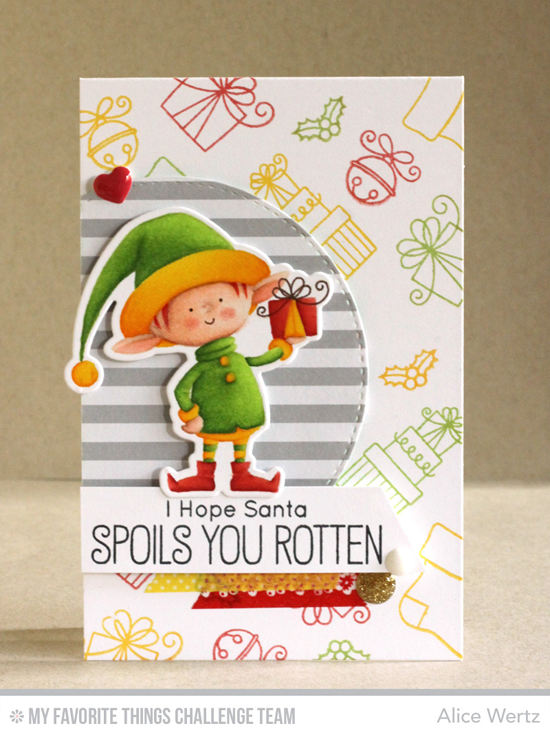 Hope Santa Spoils You Card by Alice Wertz featuring the Birdie Brown Santa's Elves stamp set and Die-namics #mftstamps