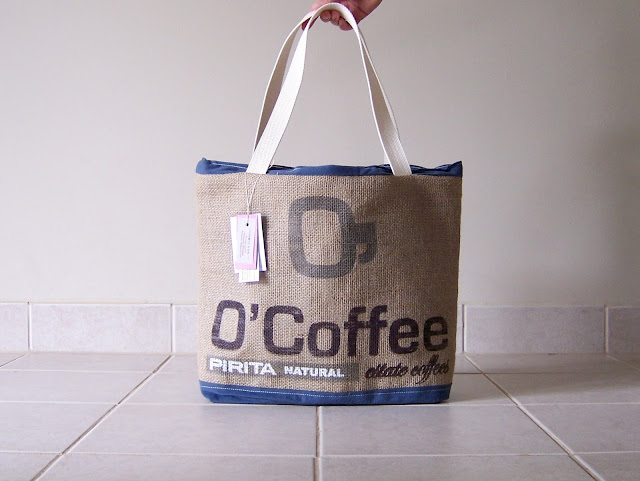 Lina and Vi burlap tote bag - O Coffee tote front