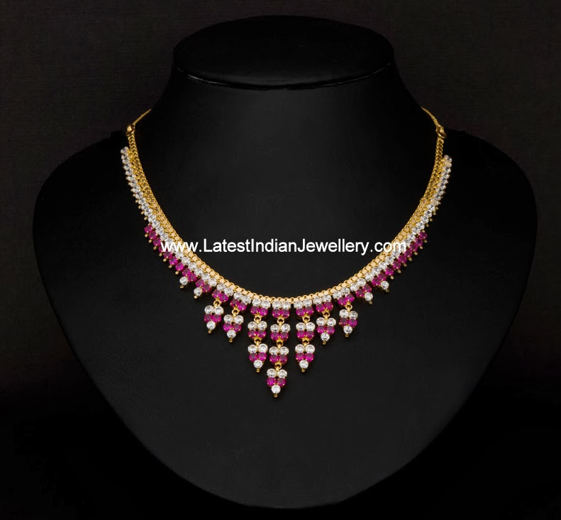 Simple CZ Ruby Necklace