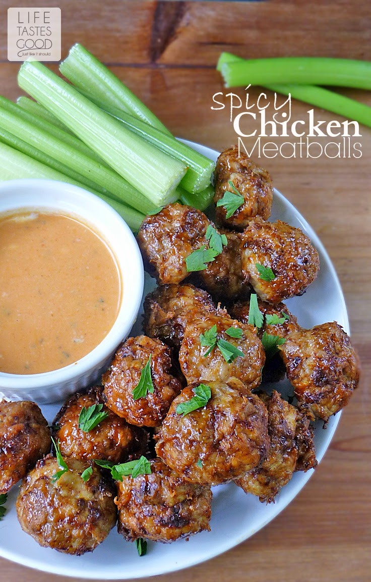 Spicy Chicken Meatballs with a honey glaze and Buffalo Ranch Dipping Sauce | by Life Tastes Good makes a great appetizer, but you might find yourself eating all of them! #ChickenMeatballs #Appetizer