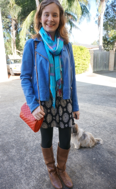 Colourful winter shift dress layered outfit tartan scarf cobalt leather jacket tal boots red bag