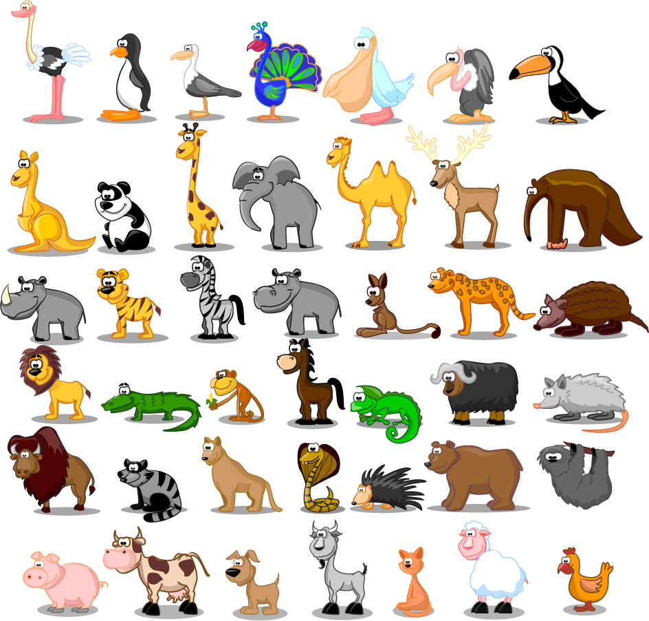cute cartoon animals ai eps cute cartoon animals voltagebd Gallery