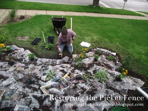 No landscaping fabric? No problem! Use wet newspaper. - Restoring the Picket Fence