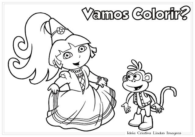 Desenho Dora a Aventureira e Botas para colorir