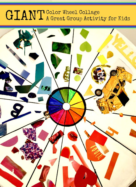 GIANT Color Wheel Collage with craft materials | A Great Sibling Activity