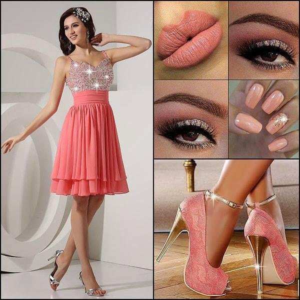 Üstü Taşlı Pembe Etekli Elbise ve Kombini (Makyaj Ayakkabı)
