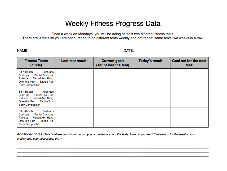 Access to Healthy Active Living 2013: Fitness Record Sheets