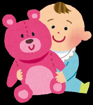 赤ちゃんと人形のイラスト