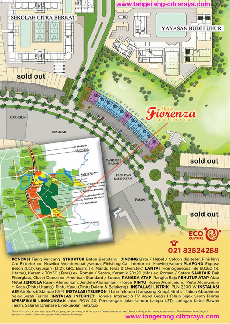 Lokasi dan Spesifikasi Ruko Fiorenza Citra Raya