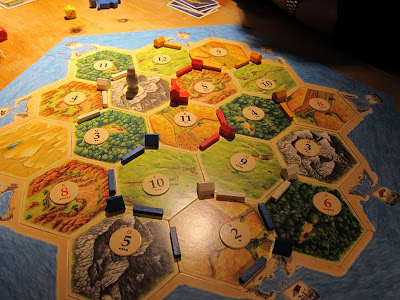 Settlers of Catan - The close up of the board mid way through the game
