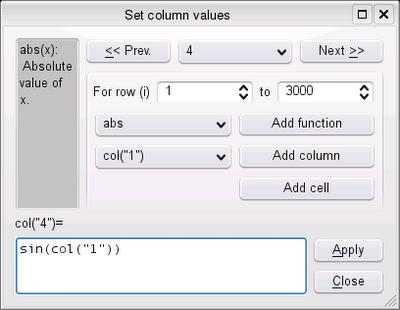 Rys 2. Okienko wpisywania formuły do kolumny.