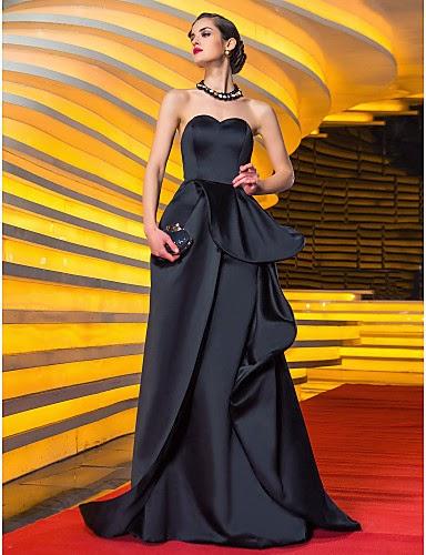Vestido de Noche Negro de Satén