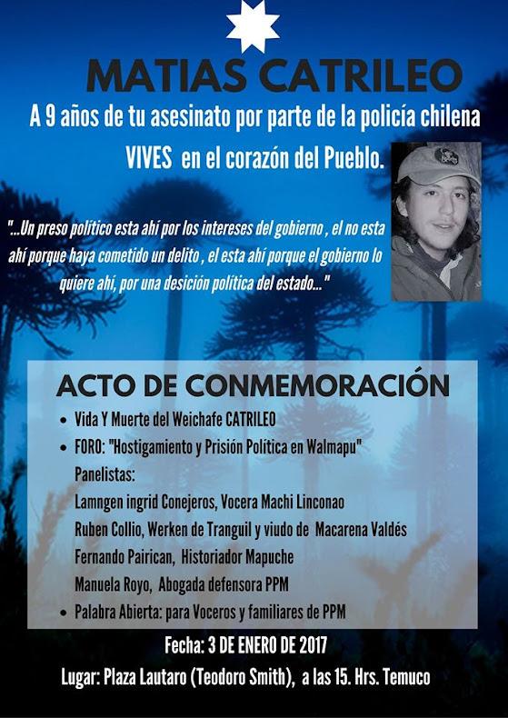 TEMUCO: MATIAS CATRILEO, A 9 AÑOS DE SU ASESINATO
