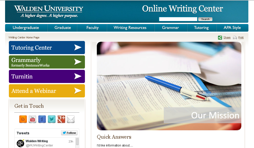 Writing Center homepage screenshot