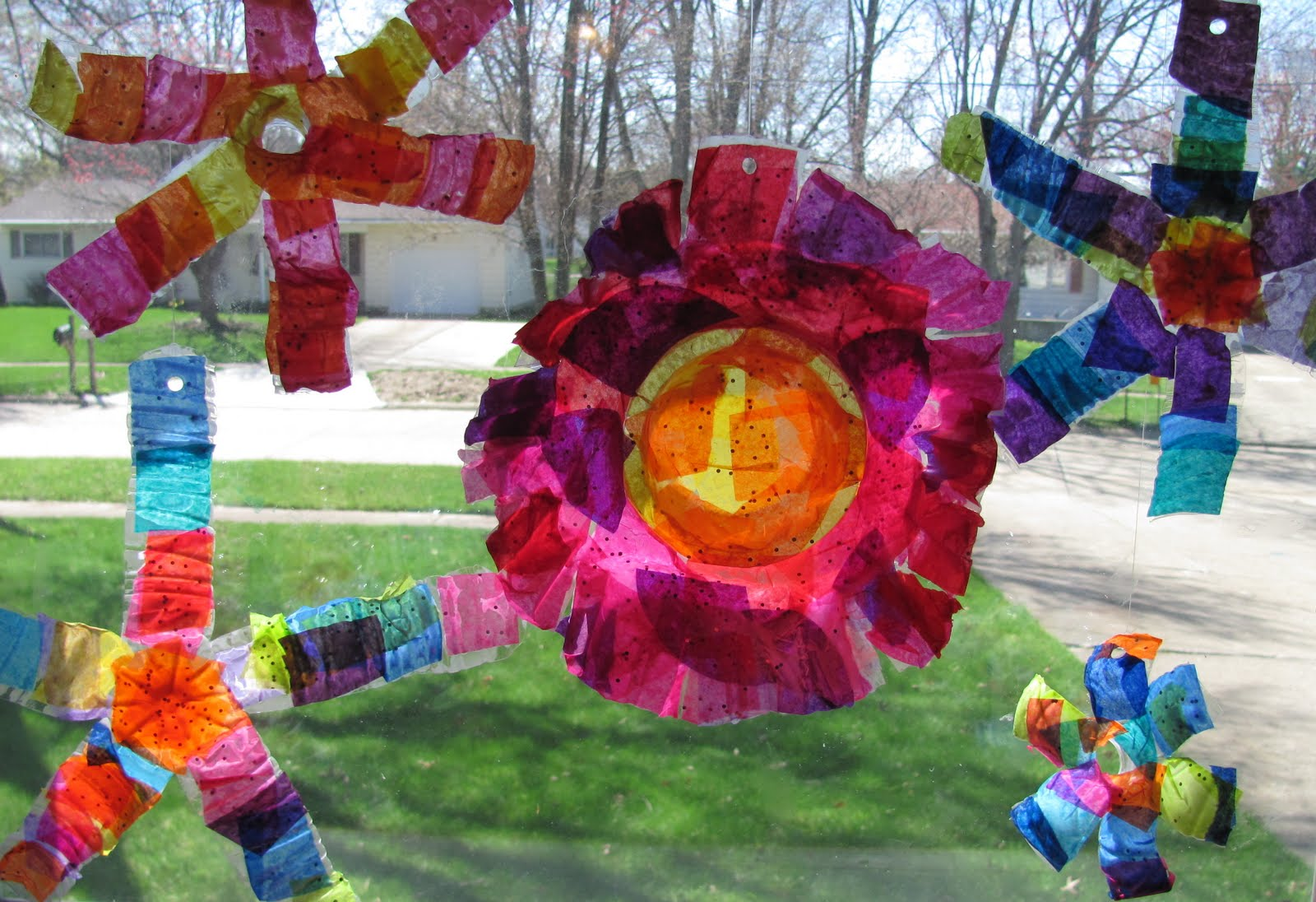 The chocolate muffin tree recycled bottle flower sun catchers with recycled bottle flower sun catchers with tissue paper mightylinksfo