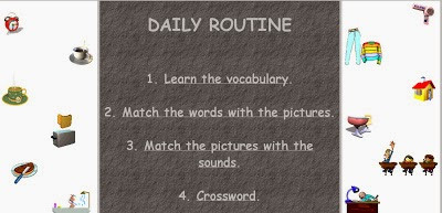 http://www.letshavefunwithenglish.com/vocabulary/routine/index.html