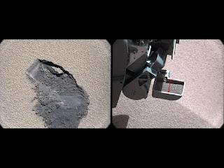 Взятие пробы грунта марсоходом Curiosity