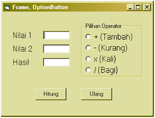 Cara membuat Frame dan OptionButton (VB 6.0)