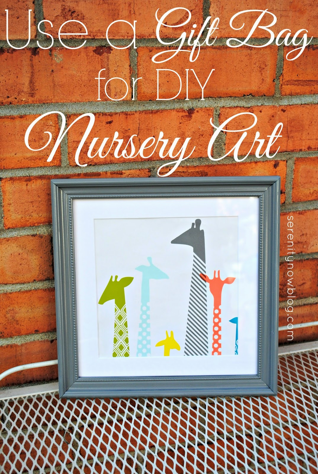 Diy Wall Art For Nursery : Serenity now nursery wall art from a gift bag free diy