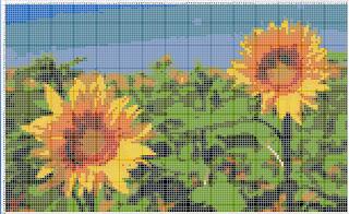 Схема вышивки подсолнухи в цвете