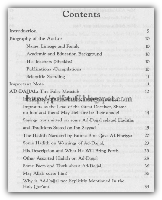 contents of the book Dajjal the false Messiah