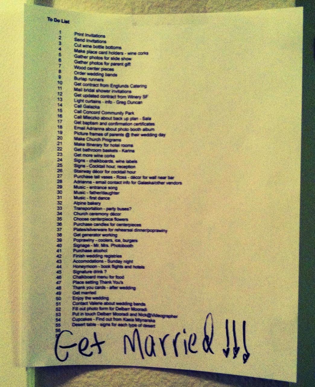 Wedding To Do List: My Big Fat Polish Wedding: The Endless To-Do List