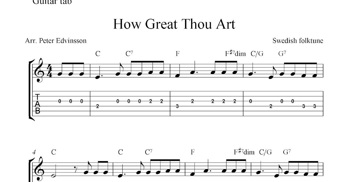 How Great Thou Art, easy free Christian guitar tablature sheet music