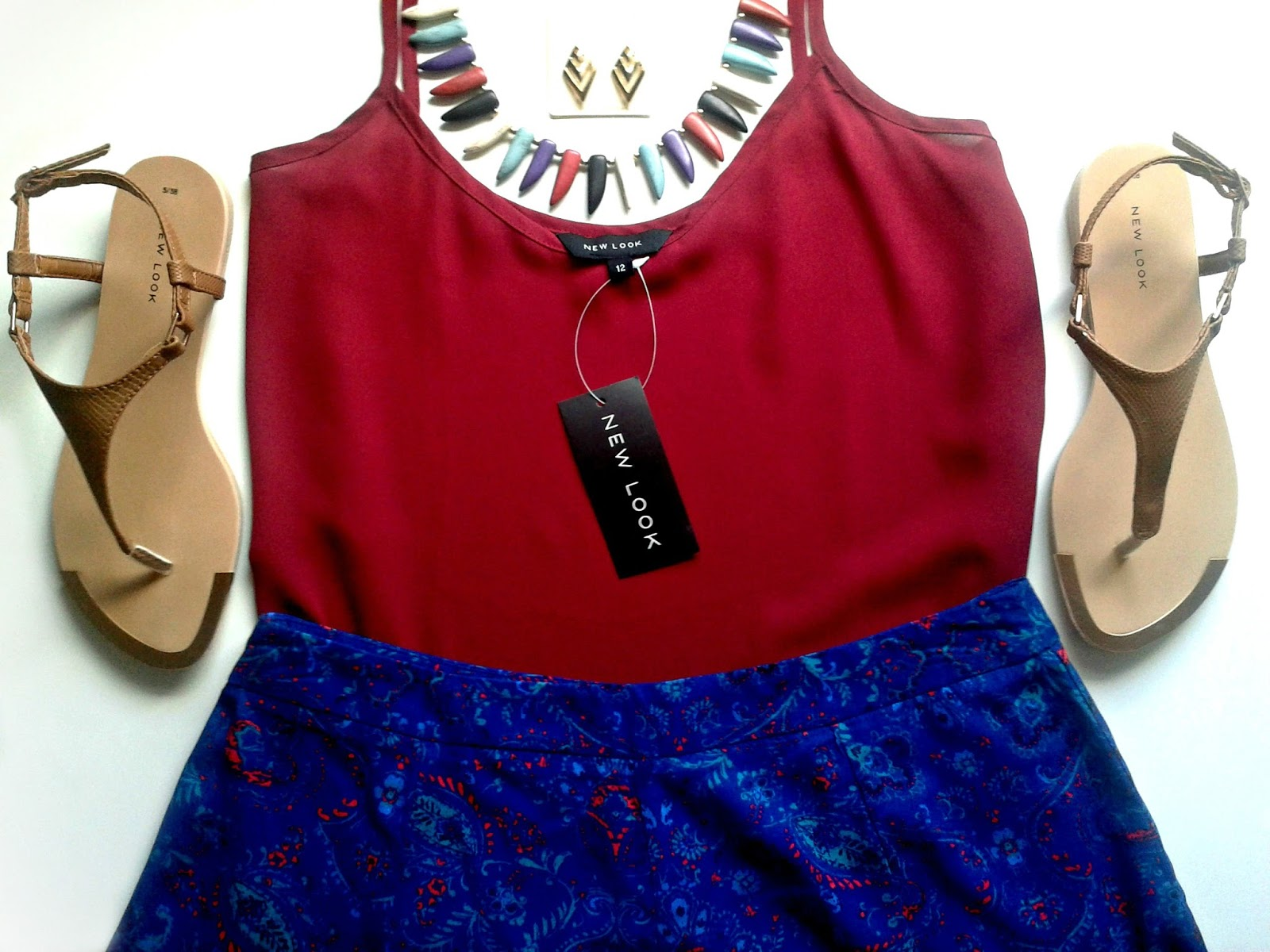 Summer Shorts Style New Look Outfit Review Dark Red V Neck Cami Blue Paisley Print Crochet Hem High Waisted Shorts Tan Leather Look T-Bar Sandals Dark Blue Spike Tooth Necklace Gold Chevron Diamond Stud Earrings