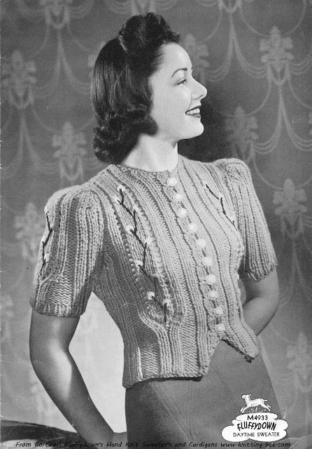 The Vintage Pattern Files: Free 1940's Knitting Pattern - Daytime Sweater