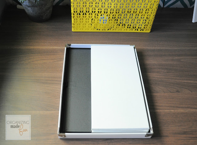 This box fold down flat for super easy storage and reuse :: OrganizingMadeFun.com