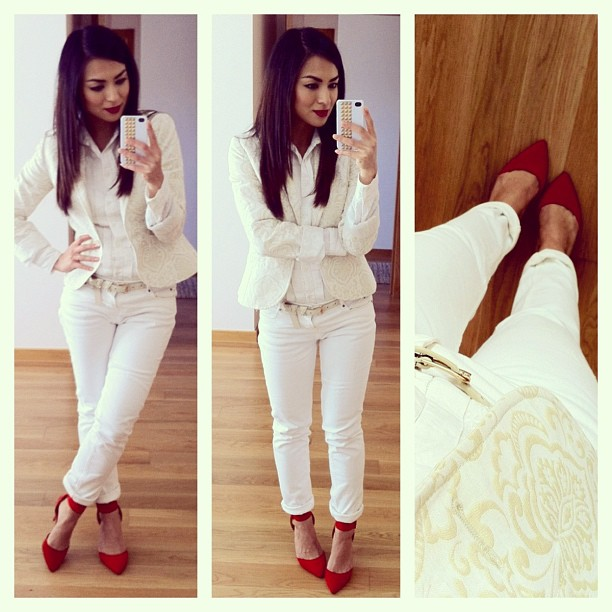 daniela pires, looks, streetstyle, white, zara, red shoes, trend, fashion, tendencias