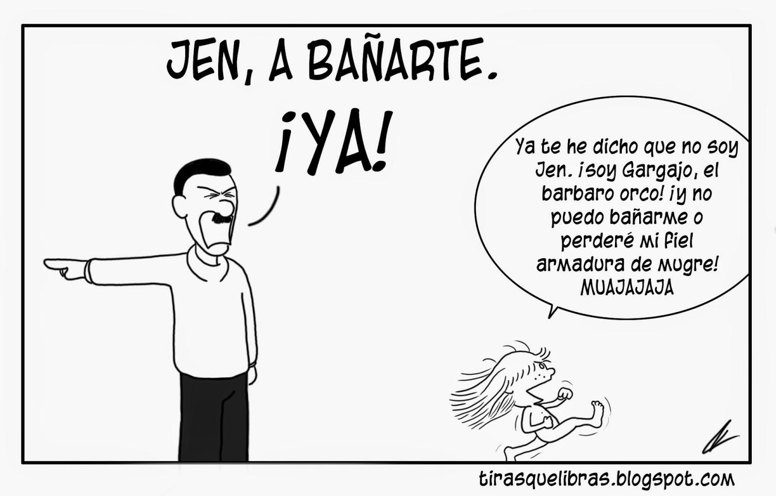webcomic, jen no quiere bañarse porque podría perder su armadura de mugre orca