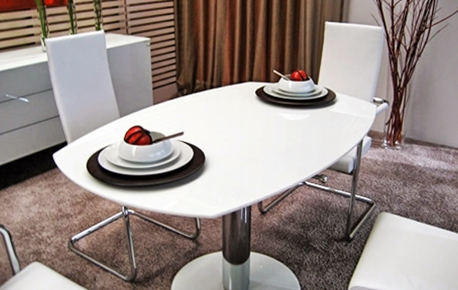 Modern Dining Table Furniture Ovale White Stone